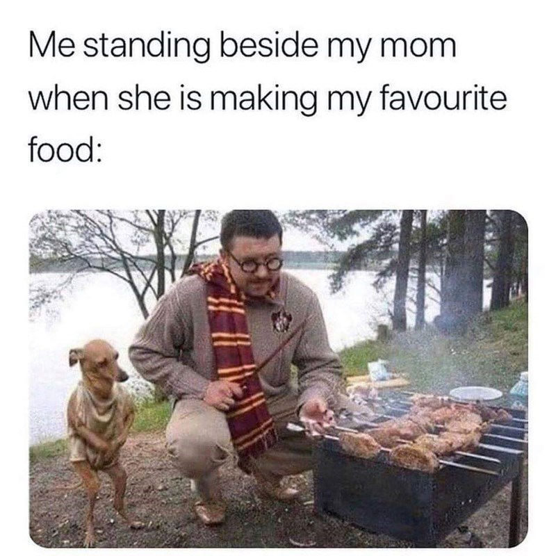 Adaptation - Me standing beside my mom when she is making my favourite food: