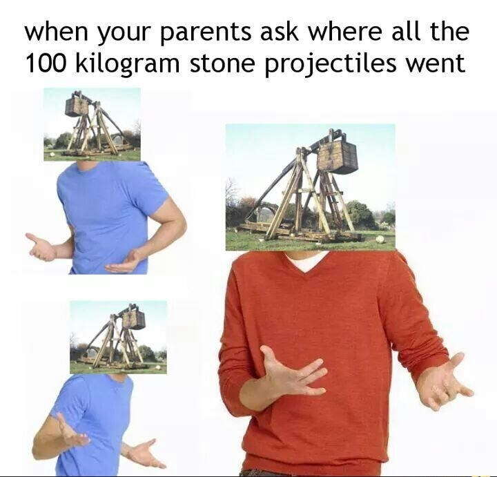 Clothing - when your parents ask where all the 100 kilogram stone projectiles went