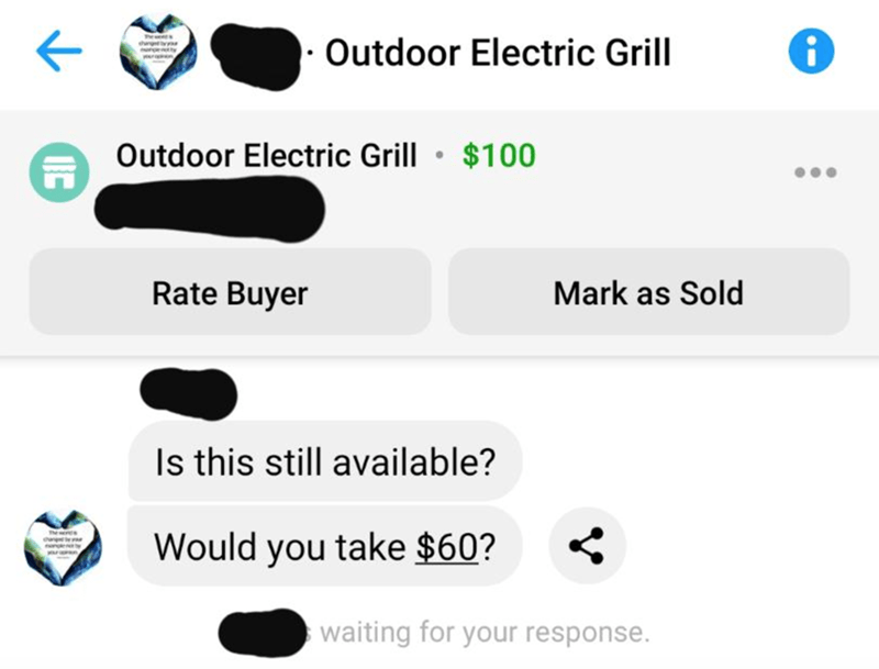 Text - Outdoor Electric Grill Outdoor Electric Grill • $100 Rate Buyer Mark as Sold Is this still available? Would you take $60? waiting for your response.