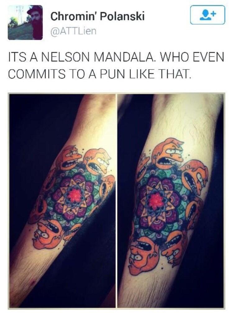Tattoo - Chromin' Polanski @ATTLien ITS A NELSON MANDALA. WHO EVEN COMMITS TOA PUN LIKE THAT.