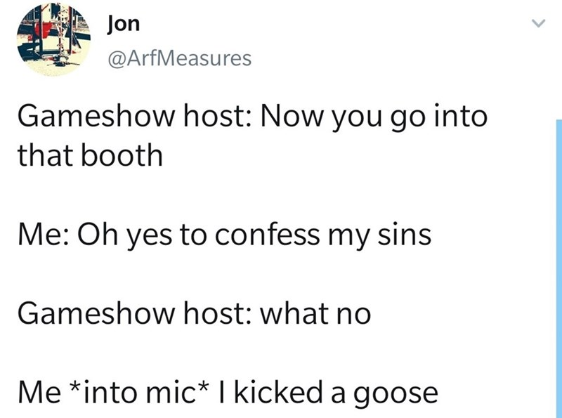 Text - Jon @ArfMeasures Gameshow host: Now you go into that booth Me: Oh yes to confess my sins Gameshow host: what no Me *into mic* I kicked a goose