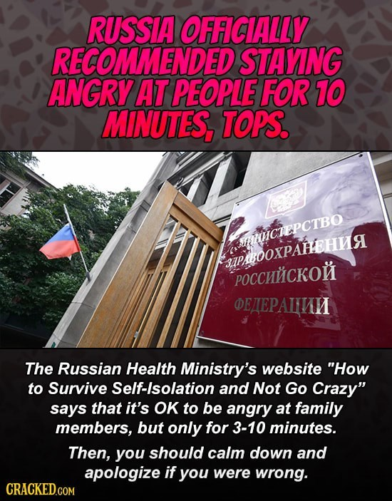 Meme about how Russian health minister recommends staying angry for no more than 10 minutes at the world or the people you live with
