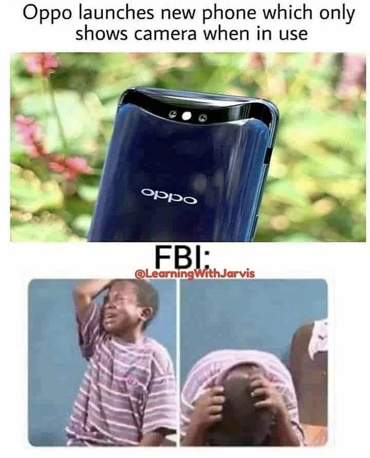 meme about FBI agent not being able to spy on some phones all day, african crying kid reaction