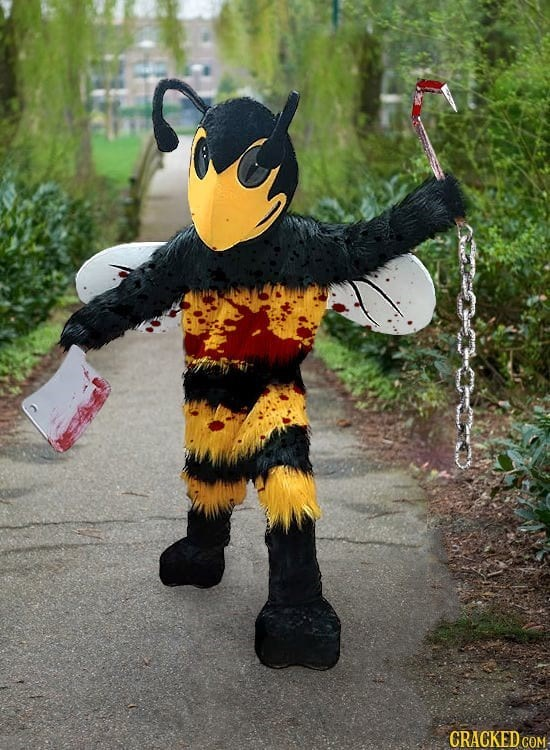 halloween costume prediction of the bloody murder hornet, brandishing fake blood and butchering tools