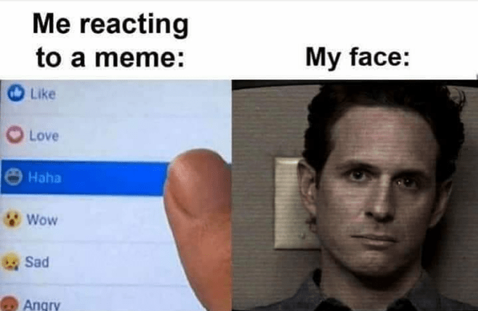 Relatable meme about reacting to something funny online with a laughing emoji while keeping a deadpan serious expression in real life with an image of Dennis Reynolds from It's Always Sunny In Philadelphia