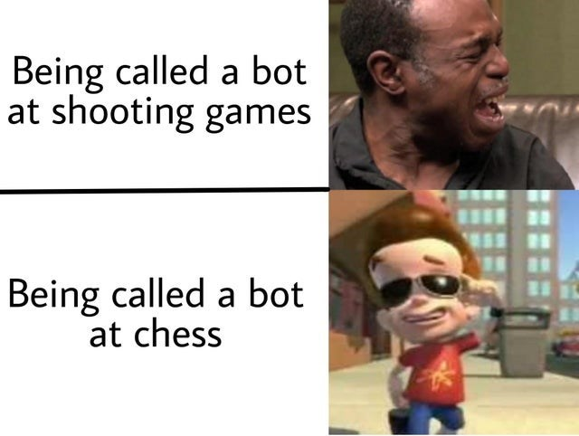 Facial expression - Being called a bot at shooting games Being called a bot at chess