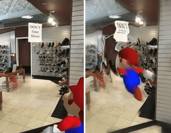 Super Mario 64 pic of Mario reading a sign on a mirror that reads Don't Enter Mirror followed by a pic of Mario jumping inside the mirror with a ripple effect applied to it