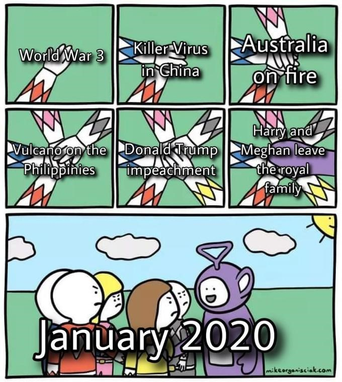 Cartoon - Australia World War 3Killer Virus in China on fire TAI Hary and Vulcanoron the Donald TrumpMeghan leave che royal 4 family Philippinies impeachment January 2020 mikeorganisciak.com