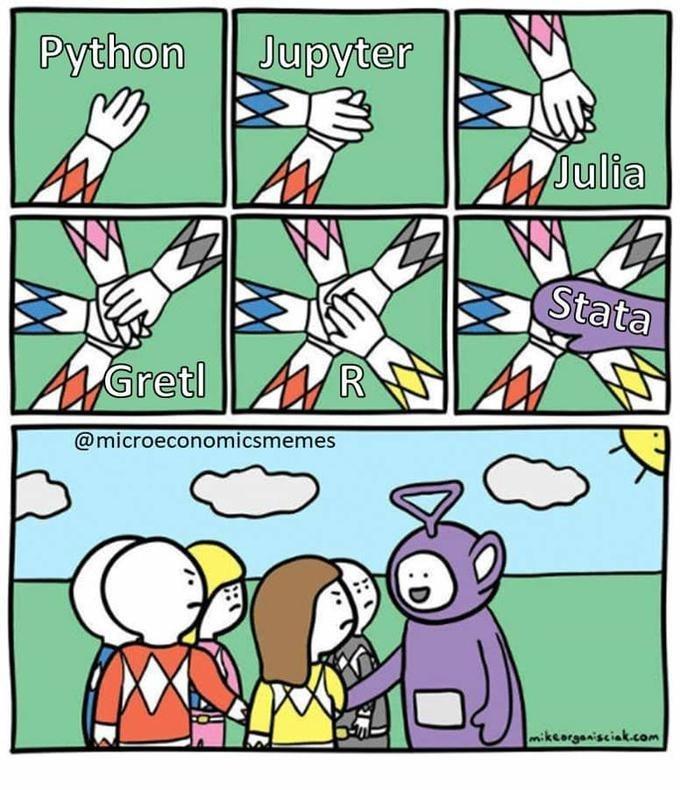 Cartoon - Python Jupyter Julia Stata AGretl R @microeconomicsmemes mikcorganisciak.com
