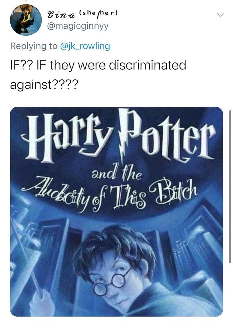 Text - Gina (she her) @magicginnyy Replying to @jk_rowling IF?? IF they were discriminated against???? Harfy Potter Aucketyf Tes Batch and the