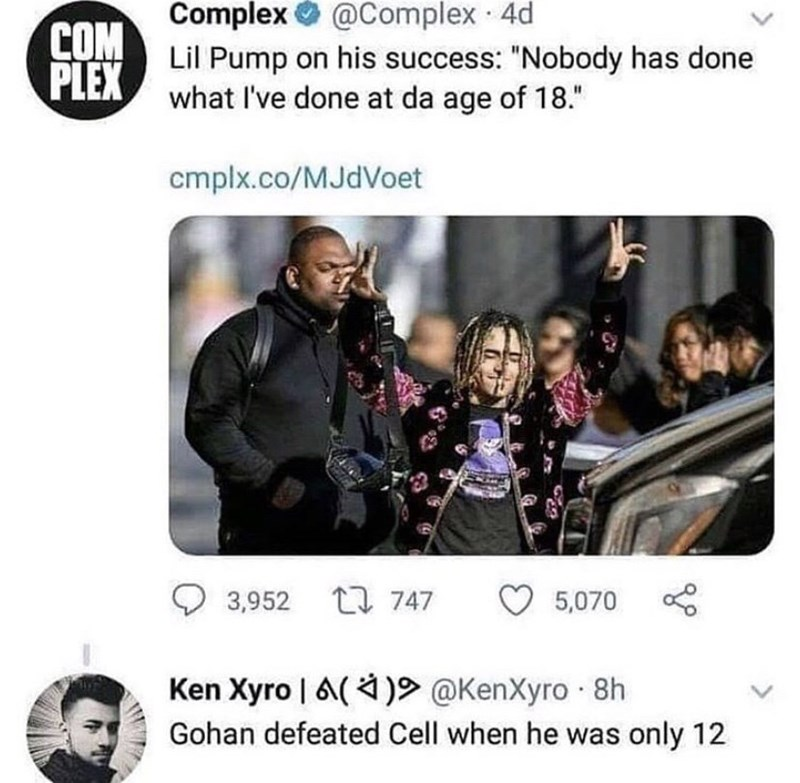 """Text - Complex O @Complex 4d COM PLEX Lil Pump on his success: """"Nobody has done what I've done at da age of 18."""" cmplx.co/MJdVoet 3,952 L7 747 5,070 Ken Xyro 
