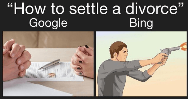 Funny dank memes pitting Google search against bing