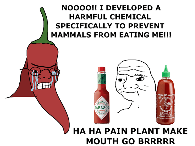 funny hot sauce meme about peppers protecting themselves against predators but made into hot sauce instead