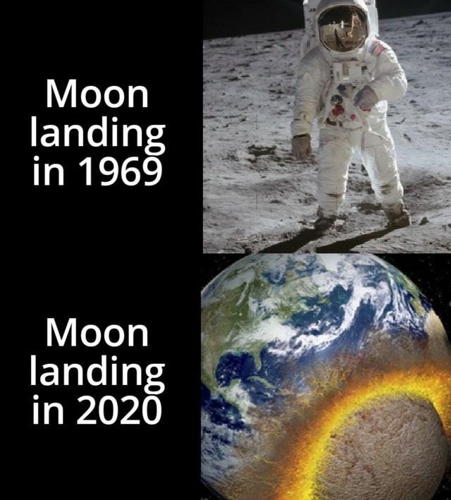 Astronaut - Мoon landing in 1969 Мoon landing in 2020
