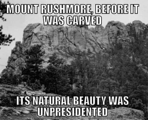 funny meme MOUNT RUSHMORE, BEFORE IT WAS CARVED ITS NATURAL BEAUTY WAS UNPRESIDENTED