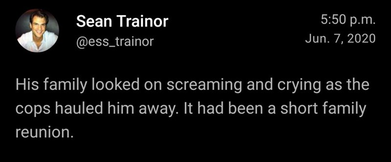 Text - Sean Trainor 5:50 p.m. @ess_trainor Jun. 7, 2020 His family looked on screaming and crying as the cops hauled him away. It had been a short family reunion.