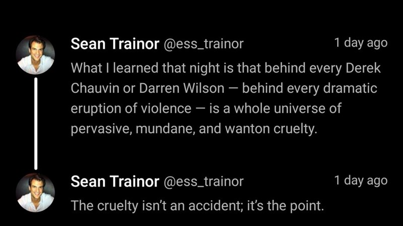 Text - Sean Trainor @ess_trainor 1 day ago What I learned that night is that behind every Derek Chauvin or Darren Wilson – behind every dramatic eruption of violence – is a whole universe of - pervasive, mundane, and wanton cruelty. Sean Trainor @ess_trainor 1 day ago The cruelty isn't an accident; it's the point.
