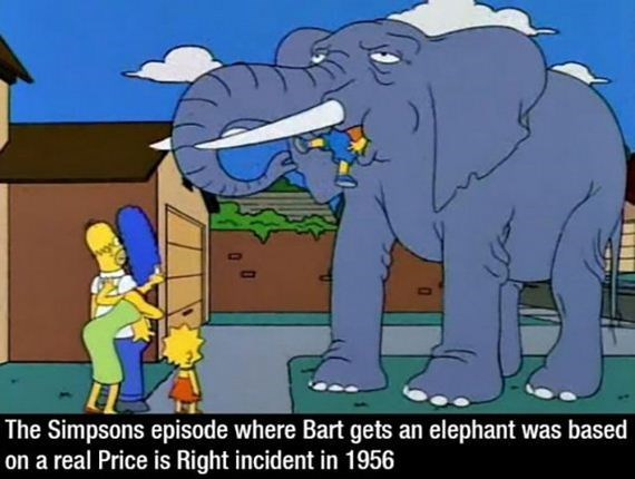 Elephant - The Simpsons episode where Bart gets an elephant was based on a real Price is Right incident in 1956
