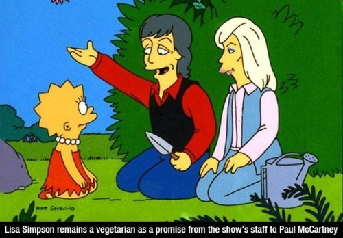 Cartoon - MAT Gao6 Lisa Simpson remains a vegetarian as a promise from the show's staff to Paul McCartney