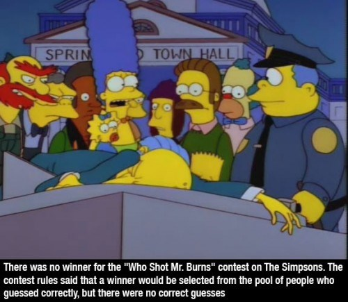 """Cartoon - SPRIN TOWN HALL There was no winner for the """"Who Shot Mr. Burns"""" contest on The Simpsons. The contest rules said that a winner would be selected from the pool of people who guessed correctly, but there were no correct guesses"""