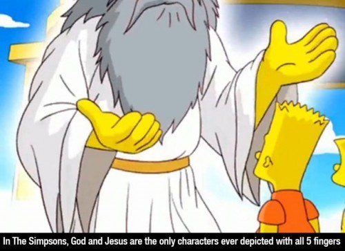 Cartoon - In The Simpsons, God and Jesus are the only characters ever depicted with all 5 fingers