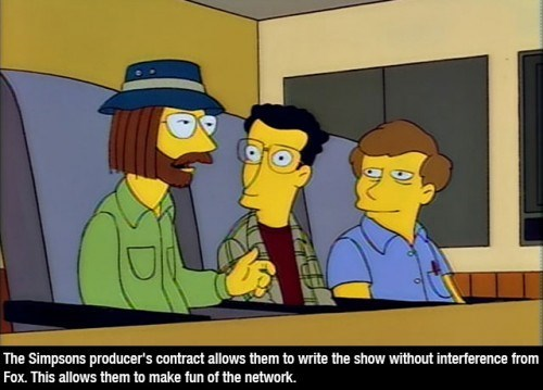 Cartoon - The Simpsons producer's contract allows them to write the show without interference from Fox. This allows them to make fun of the network.