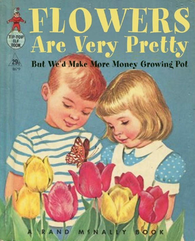 Tulip - FLOWERS Are Very Pretty TIP-TOP ELF BOOK 29 But We'd Make More Money Growing Pot RAND MSNALLY BOO K