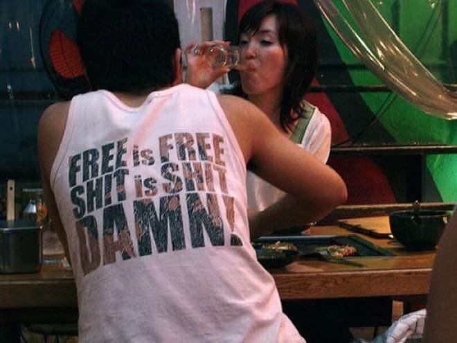 T-shirt - FREE is FREE SHIT is SHIT DAMN