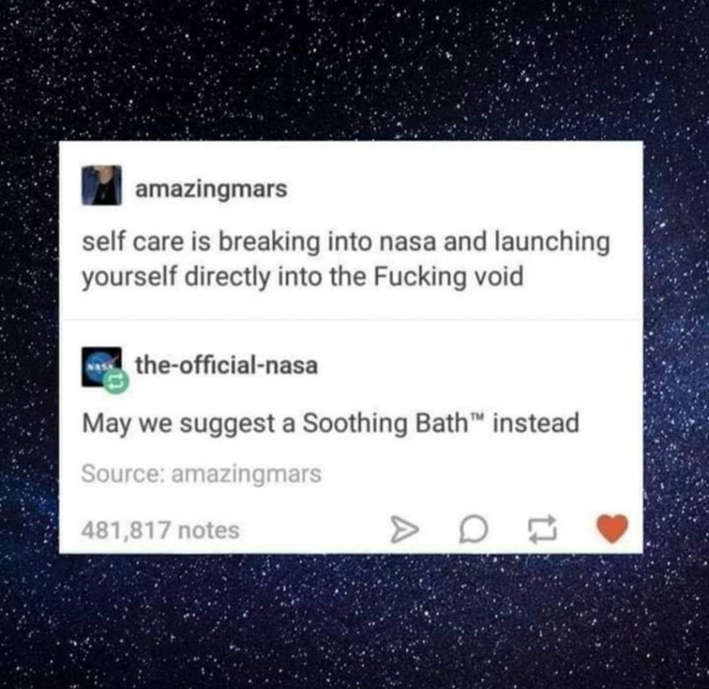 Text - amazingmars self care is breaking into nasa and launching yourself directly into the Fucking void the-official-nasa May we suggest a Soothing Bath instead Source: amazingmars 481,817 notes