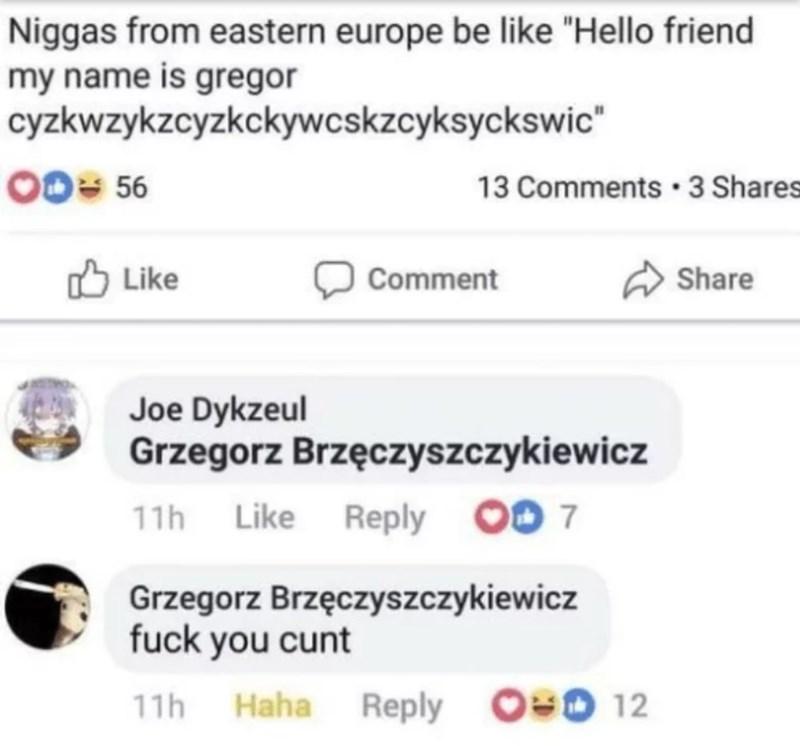 """Text - Niggas from eastern europe be like """"Hello friend my name is gregor cyzkwzykzcyzkckywcskzcyksyckswic"""" 00= 56 13 Comments · 3 Shares Like לז Comment A Share Joe Dykzeul Grzegorz Brzęczyszczykiewicz 11h Like Reply OO 7 Grzegorz Brzęczyszczykiewicz fuck you cunt 11h Haha Reply O0 12"""