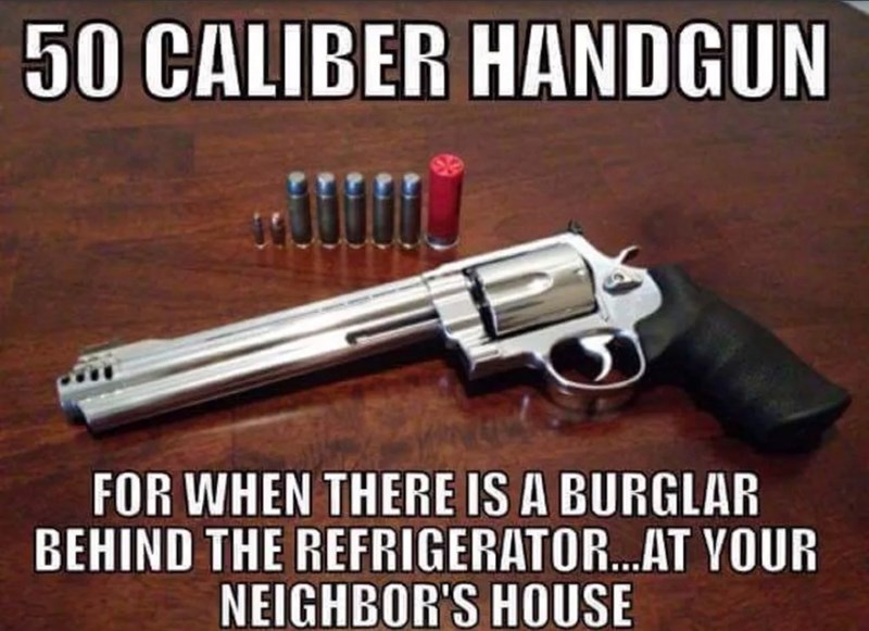 Firearm - 50 CALIBER HANDGUN FOR WHEN THERE IS A BURGLAR BEHIND THE REFRIGERATOR.AT YOUR NEIGHBOR'S HOUSE