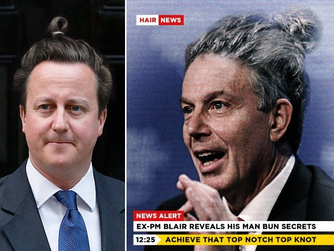Facial expression - HAIR NEWS NEWS ALERT EX-PM BLAIR REVEALS HIS MAN BUN SECRETS 12:25 ACHIEVE THAT TOP NOTCH TOP KNOT