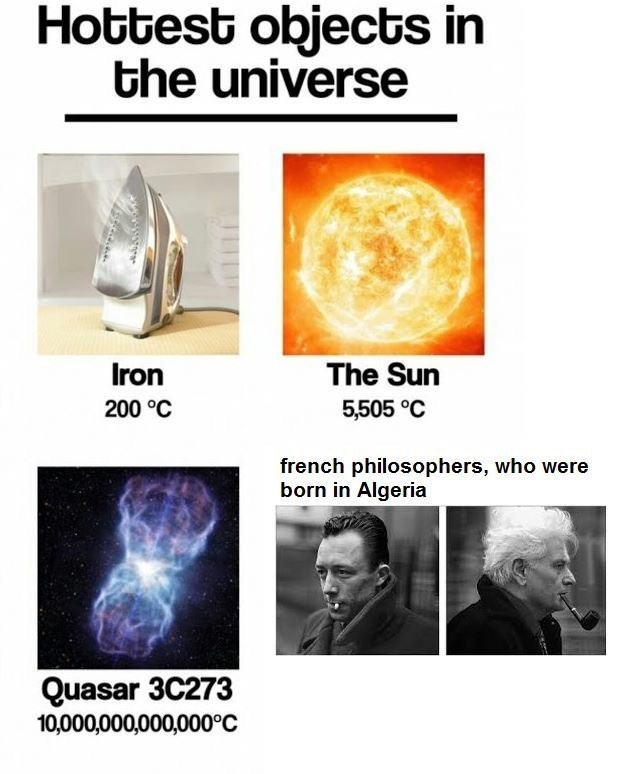 Text - Hottest objects in the universe Iron The Sun 200 °C 5,505 °C french philosophers, who were born in Algeria Quasar 3C273 10,000,000,000,000°C