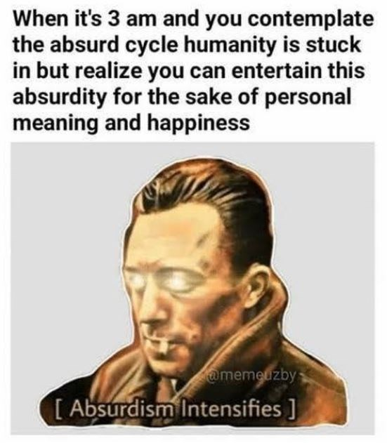 Text - When it's 3 am and you contemplate the absurd cycle humanity is stuck in but realize you can entertain this absurdity for the sake of personal meaning and happiness @memeuzby [ Absurdism Intensifies ]