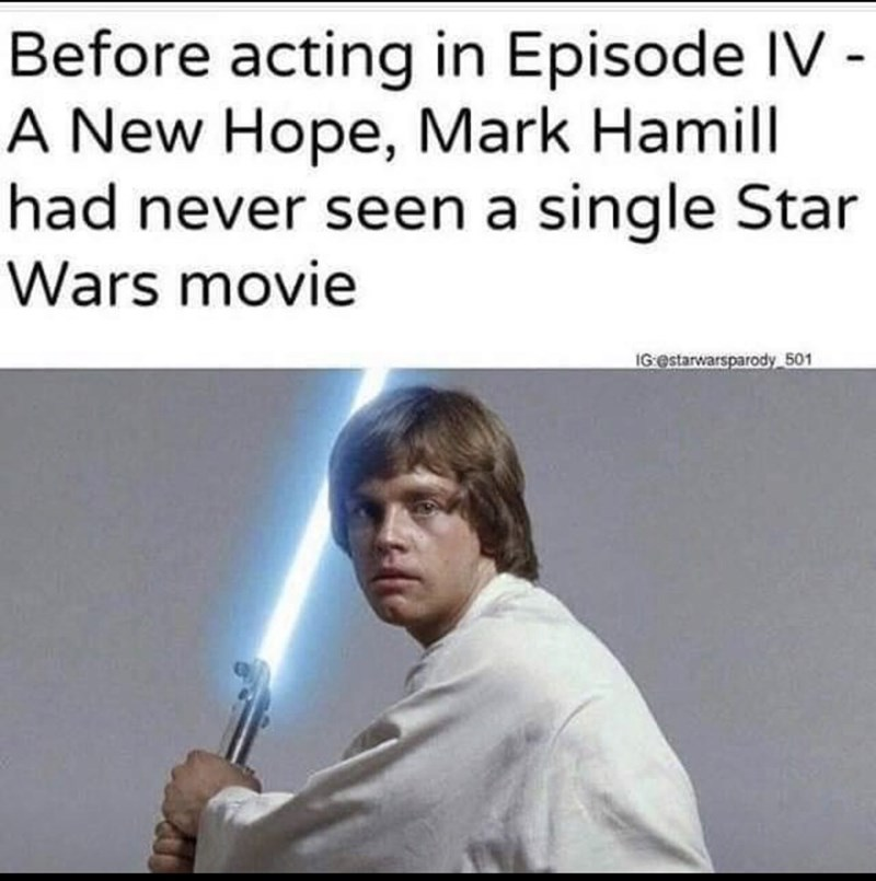 Text - Before acting in Episode IV - A New Hope, Mark Hamill had never seen a single Star Wars movie IG estarwarsparody 501