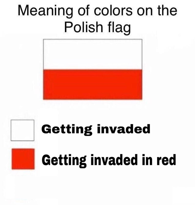 Text - Meaning of colors on the Polish flag Getting invaded Getting invaded in red