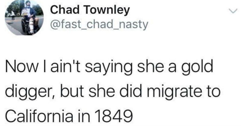 Text - Chad Townley @fast_chad_nasty Now I ain't saying she a gold digger, but she did migrate to California in 1849