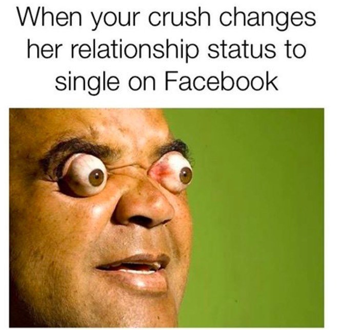 Text - Face - When your crush changes her relationship status to single on Facebook
