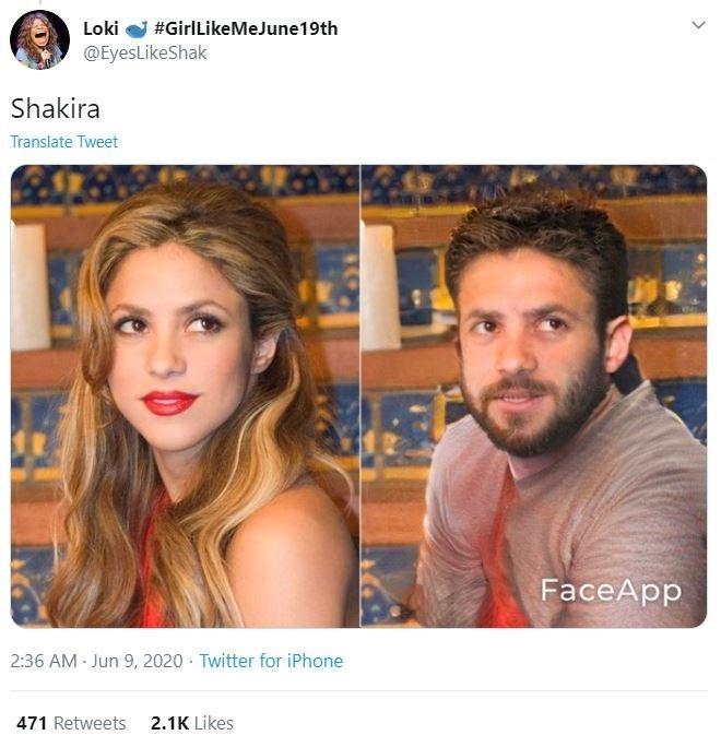 Hair - Loki @EyesLikeShak #GirlLikeMeJune19th Shakira Translate Tweet FaceApp 2:36 AM · Jun 9, 2020 · Twitter for iPhone 471 Retweets 2.1K Likes