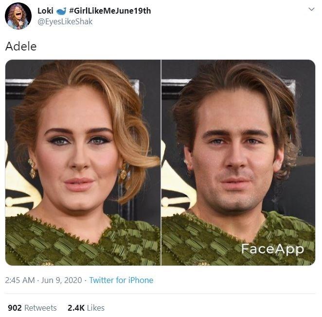 Face - Loki #GirlLikeMeJune19th @EyesLikeShak Adele FaceApp 2:45 AM Jun 9, 2020 Twitter for iPhone 902 Retweets 2.4K Likes
