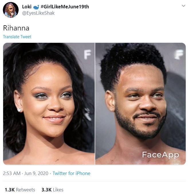 Hair - Loki #GirlLikeMeJune19th @EyesLikeShak Rihanna Translate Tweet FaceApp 2:53 AM Jun 9, 2020 · Twitter for iPhone 1.3K Retweets 3.3K Likes >
