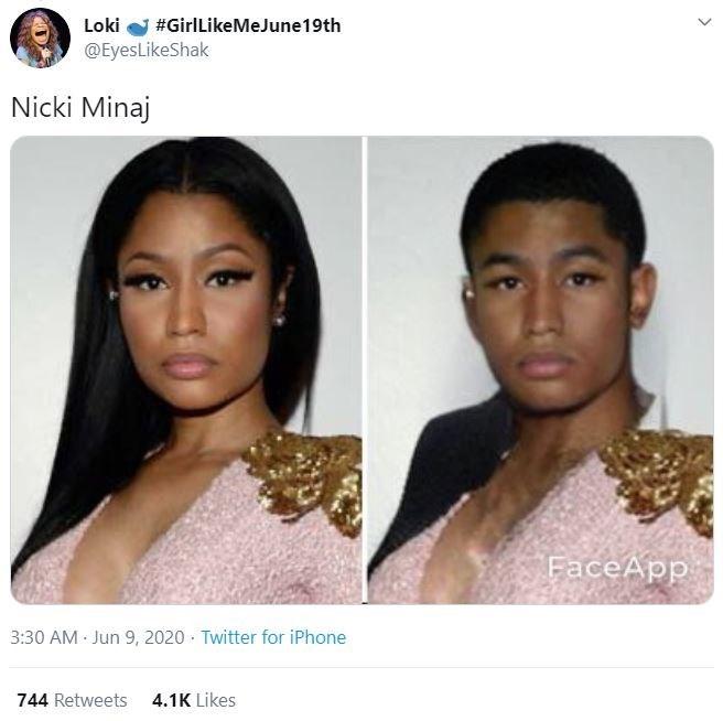 Face - Loki #GirlLikeMeJune19th @EyesLikeShak Nicki Minaj FaceApp 3:30 AM Jun 9, 2020 · Twitter for iPhone 744 Retweets 4.1K Likes >