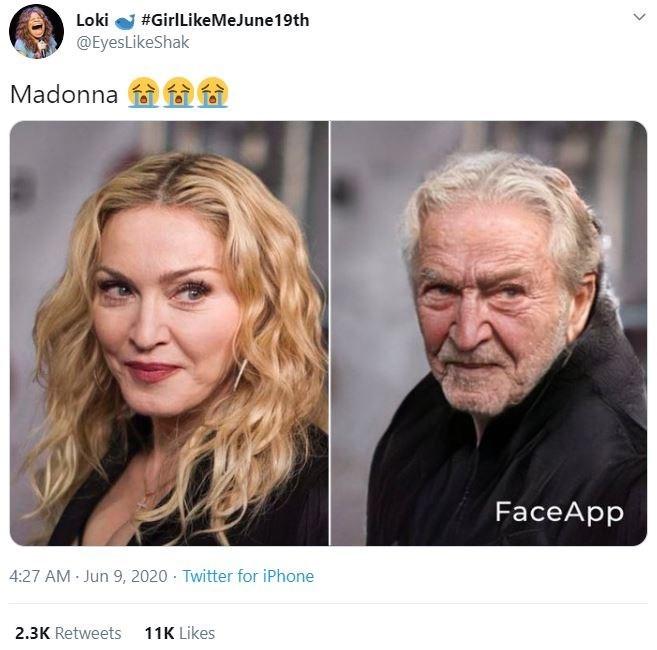 Face - Loki #GirlLikeMeJune19th @EyesLikeShak Madonna FaceApp 4:27 AM Jun 9, 2020 Twitter for iPhone 2.3K Retweets 11K Likes