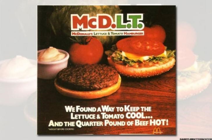 Food - MCDLT MCDOMALDS LITTUCE & TOMATO HANBUNGER WE FOUND AWAY TO KEEP THE LETTUCE & TOMATO COOL... AND THE QUARTER POUND OF BEEF HOT! WEHTORE COOKNG DARRYLMBUTI SCOTCH