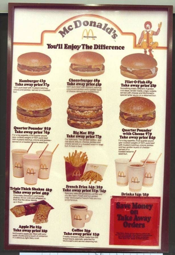 Advertising - HcDOnalds You'll Enjoy The Difference Cheeseburger 48p Take away price 4ap 0opure beet wh mostard kelchp ionis and pickles and a goiden layor of chooe senvet onatoisted bun Filet-O-Fish 48p. Take away priee 42p Something totaly dterent Agoliden cod steak ender inide orepy outde served with cheese and McDoraids pecial tartar sauce on a steamed biun Hamburger 43p Take away price 37p 0 pum beef with muolard ketchup oniona and pickles-served ona toanted Quarter F Take away price 74p Fo