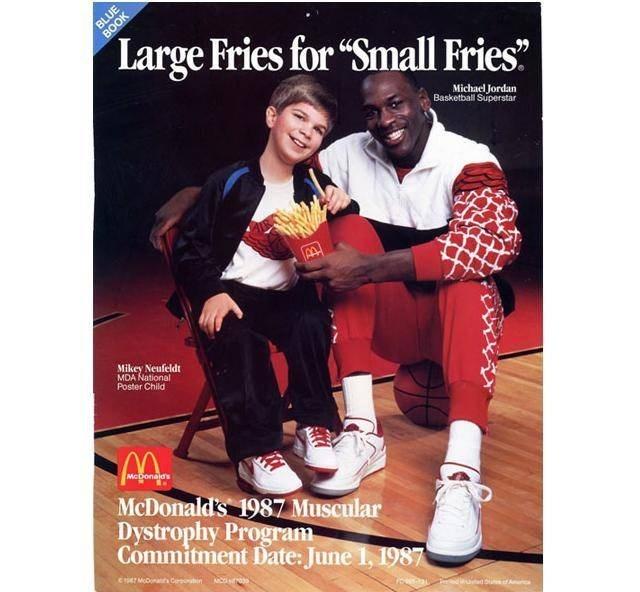 "Footwear - BLUE BOOK Large Fries for ""Small Fries"" Michael Jordan Basketball Superstar Mikey Neufeldt MDA National Poster Child McDonalds McDonald's 1987 Muscular Dystrophy Program Commitment Date: June 1, 1987 Cr MDt Croin America"