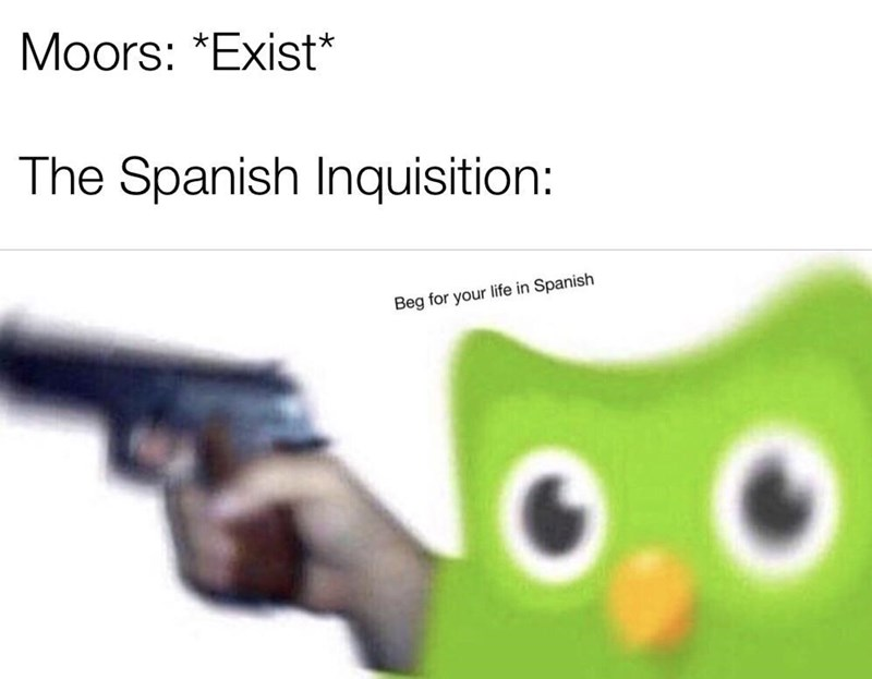 Text - Moors: *Exist* The Spanish Inquisition: Beg for your life in Spanish