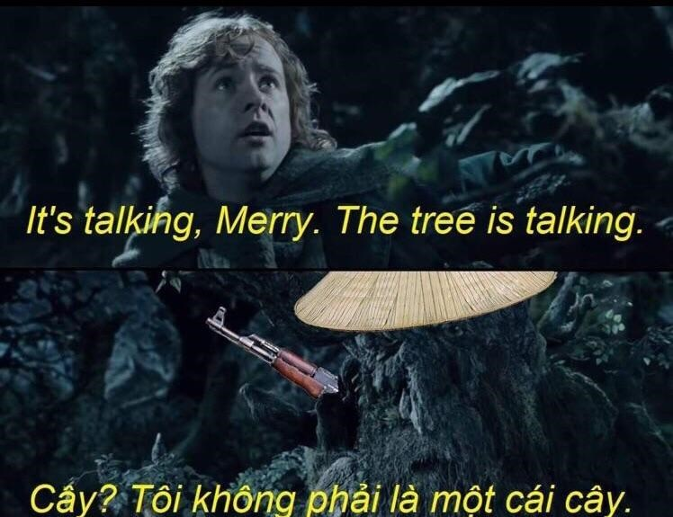 Text - It's talking, Merry. The tree is talking. Cấy? Tôi không phải là một cái cây.