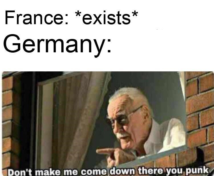 Text - France: *exists* Germany: Pon't make me come down there you punk