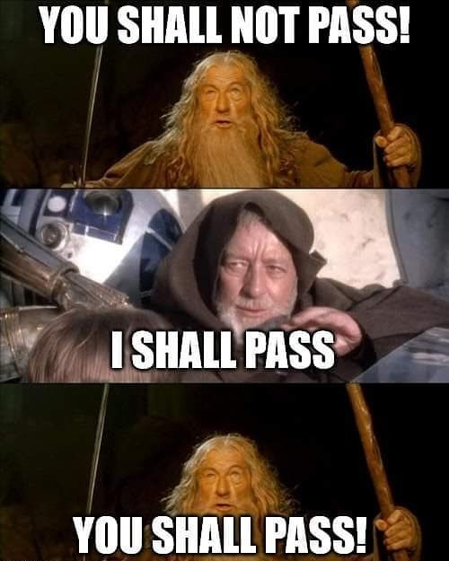 Photo caption - YOU SHALL NOT PASS! I SHALL PASS YOU SHALL PASS!